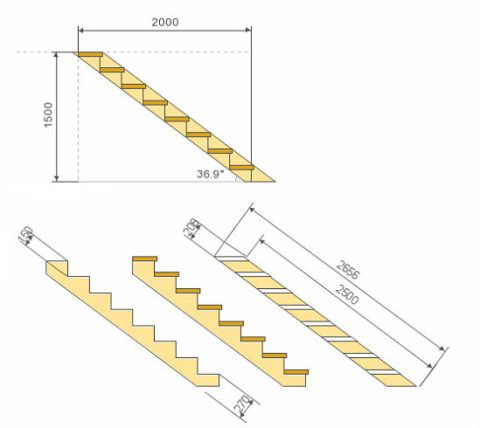 Эскиз металлической лестницы