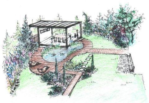 Эскизный рисунок расположения террасы на участке