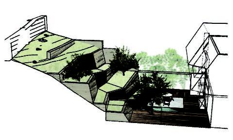 Эскизный рисунок с расположением террасы