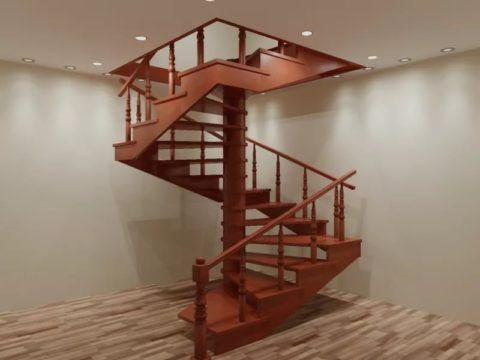Лестница на косоуре и вертикальной опоре