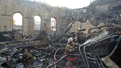 Металлические конструкции после пожара