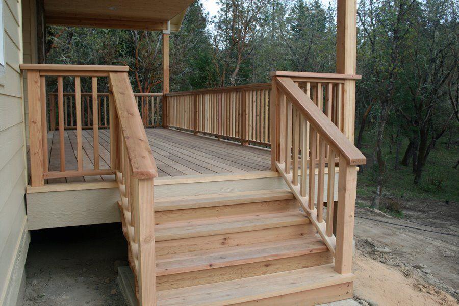 Лестница на террасу деревянная