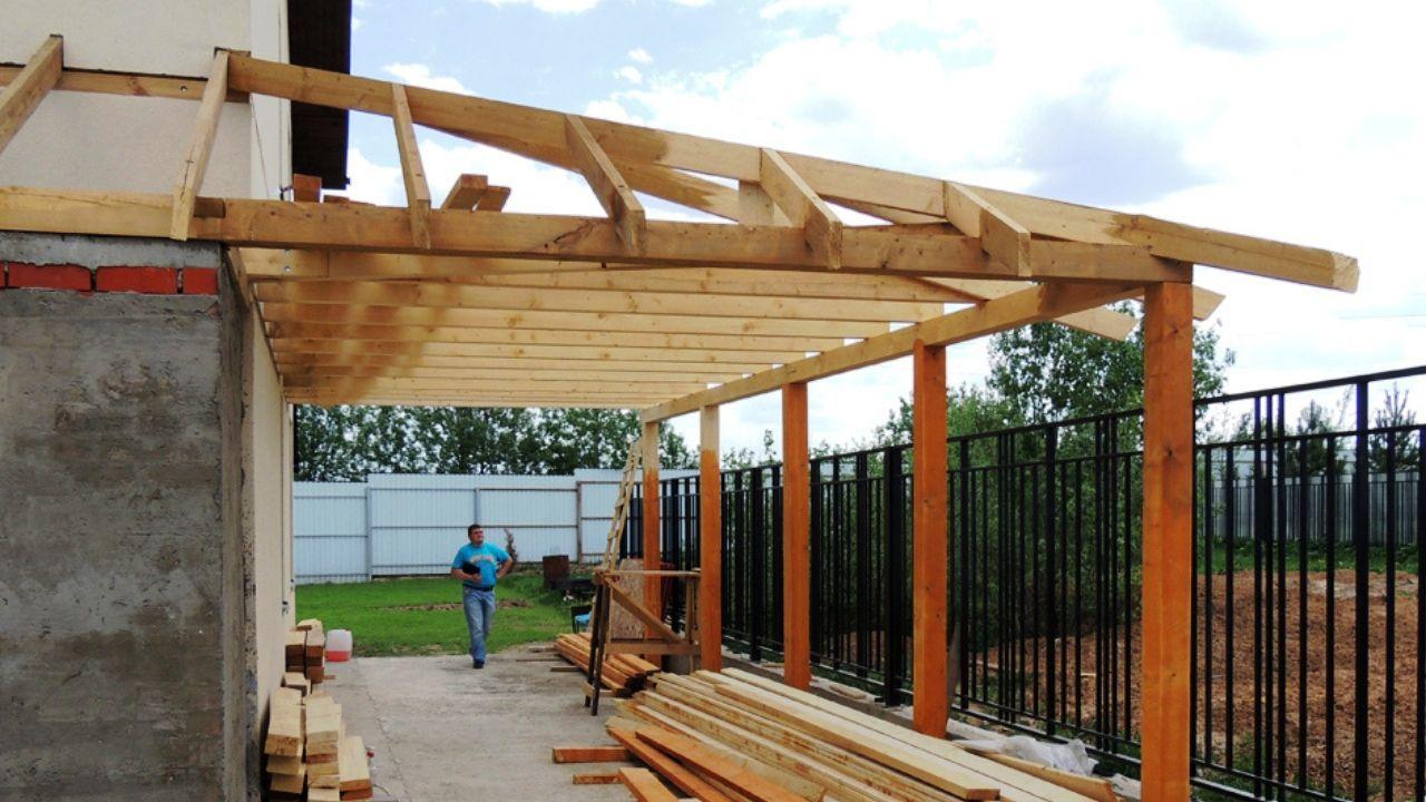Навес деревянный на даче из поликарбоната своими руками фото 745