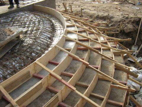 Опалубка для крыльца из бетона с круглыми ступенями