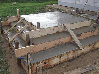 Опалубка с уложенной бетонной смесью