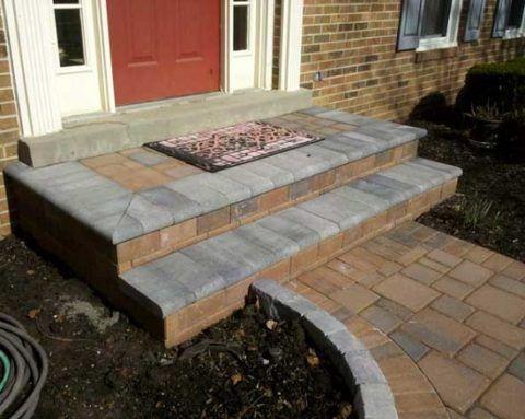 Отделка крыльца и ступеней бетонной плиткой