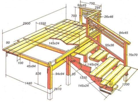 План деревянного крыльца