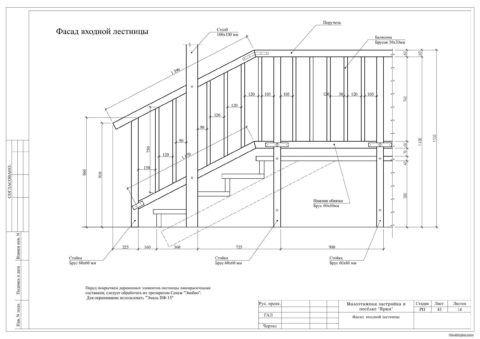 Пример чертежа входной лестницы (вид сбоку)