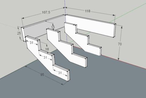 Разметка под деревянное крыльцо и размеры элементов каркаса в дюймах