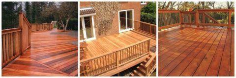 Террасная доска может применяться для отделки открытого пространства перед домом
