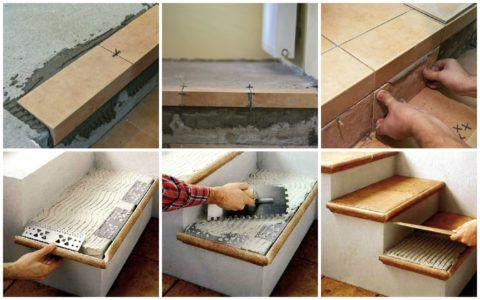 Укладка плит на ступени