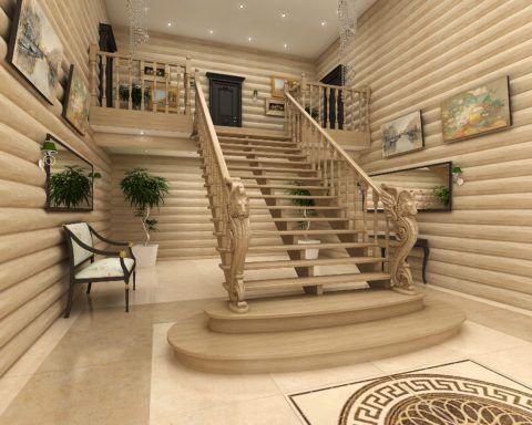 Упрочненная конструкция деревянной лестницы на трех косоурах