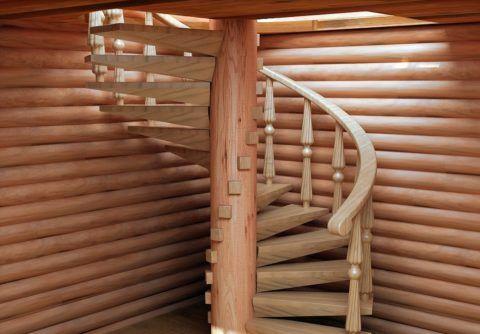 Винтовая лестница в деревянном доме
