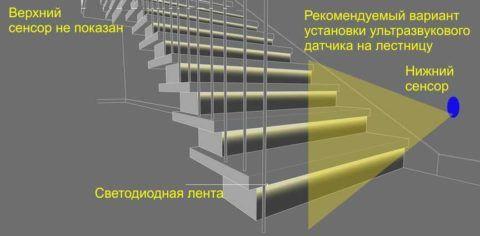 Датчик звука на лестнице