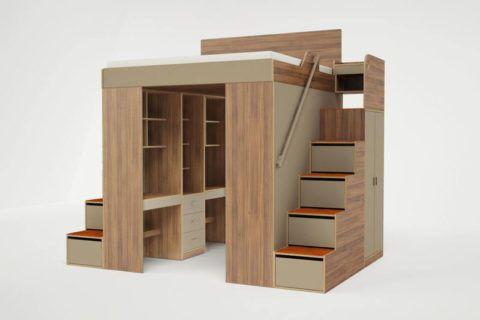 Двух спальная кровать-чердак с гардеробом