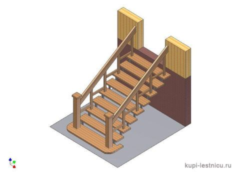 Эскиз деревянной лестницы