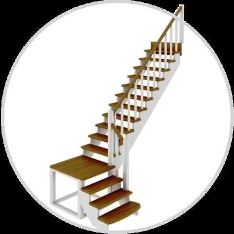 Готовый комплект деревянной лестницы