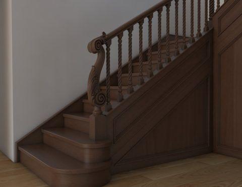 Итальянская лестница из массива дуба