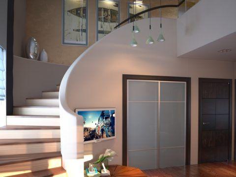 Лестница с гипсокартонной обшивкой