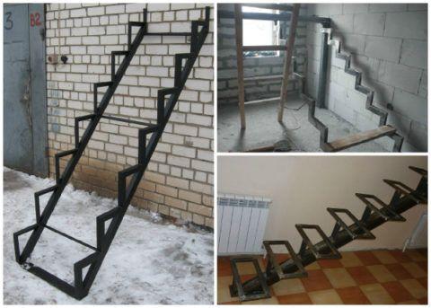 Металлический каркас лестницы на косоурах с «кобылками»
