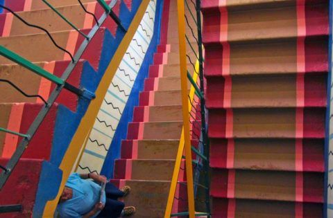 Покраска лестницы из бетона