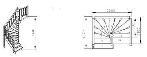 Пример чертежа лестницы с забежными ступенями