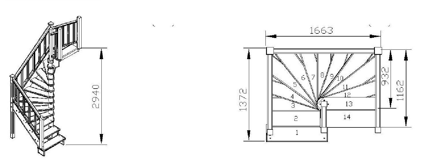 Чертеж винтовой лестницы из дерева своими руками 398