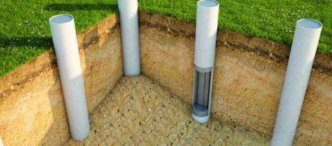 Пристройка крыльца к деревянному дому: схема свай в асбестоцементных трубах