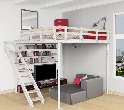 Прочная маршевая лестница для кровати из металла и древесины