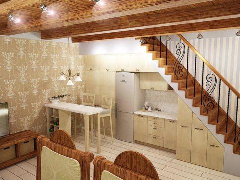 Простое обустройство кухонной мебели в подлестничном пространстве