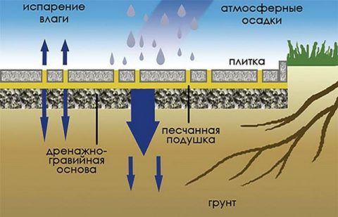 Схема отвода и испарения влаги с покрытия из тротуарной плитки