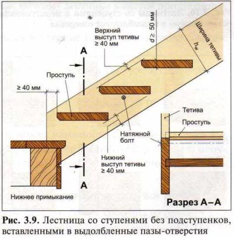 Схема с основными пропорциями ступеней