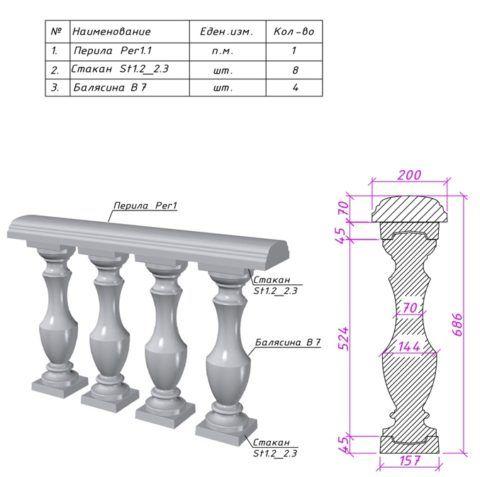 Стандартные размеры бетонной балясины и спецификация балюстрады