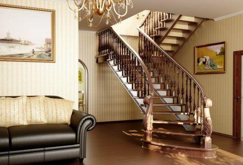 Тонкие ступени лестничной конструкции из дуба