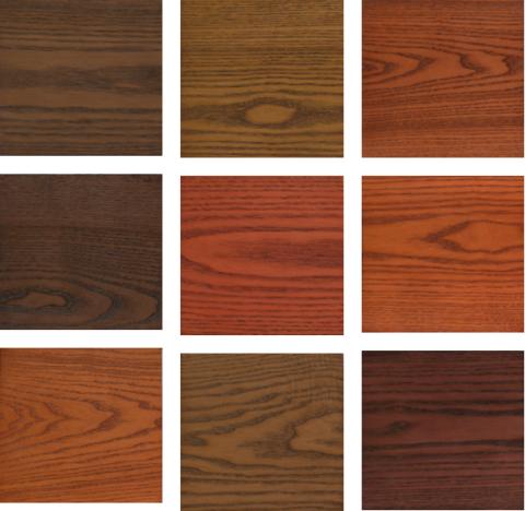 Цветовая гамма окрашенной дубовой древесины -фото