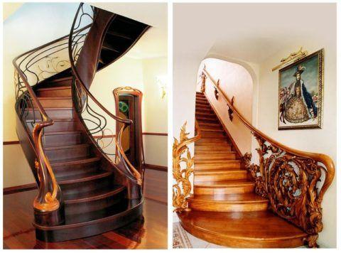Закругленные ступени входа на лестницу