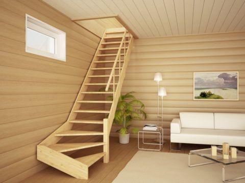 Деревянная лестница классической конструкции