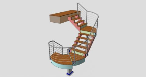 Эскизы лестниц на второй этаж в компьютерной программе