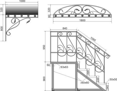Можно приобрести типовой проект крыльца из металла