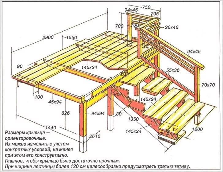 Вариант решения входной лестницы из дерева