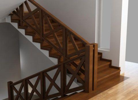 Бетонная лестница с обшивкой из дерева