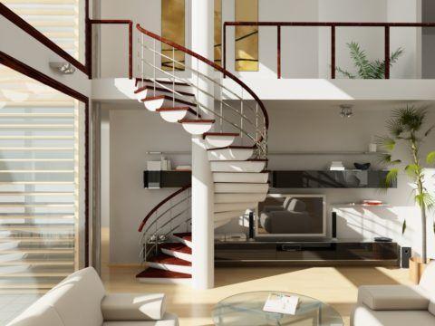 Дизайнерская лестница из соснового полубревна, с облицовкой готовыми ступенями из более устойчивой к истиранию древесины