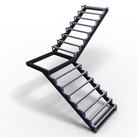 Как сделать лестницу из профильной трубы: поворот на 90 градусов