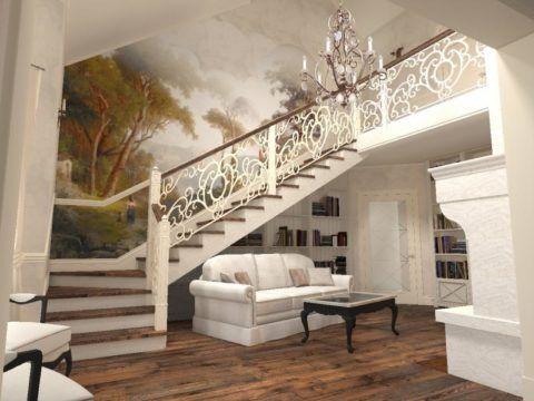 Лестница в интерьере дома в стиле Прованс