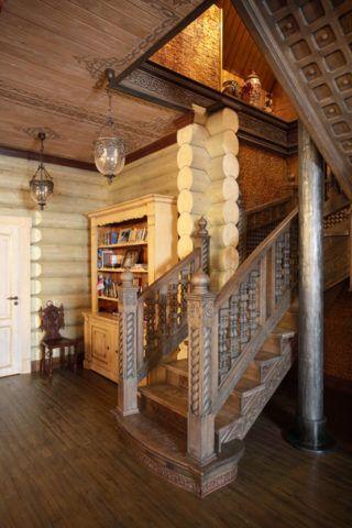 Лестницы: интерьер в русском стиле