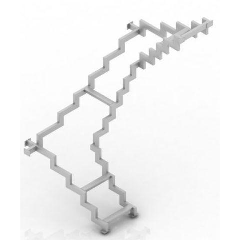 На фото – металлический каркас лестницы из профильной трубы с разворотом на 270 градусов