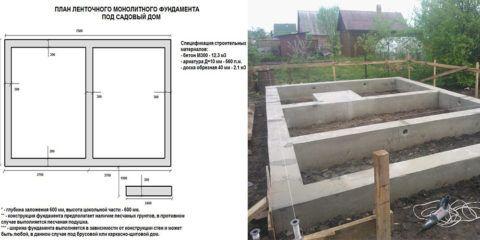 На фото видно отдельный пятачок фундамента под бетонную лестницу