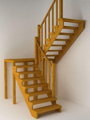 Поворотная двухмаршевая лестница с поворотной площадкой