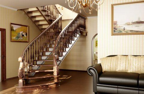 Пример профессиональной лестницы, сделанной из дерева