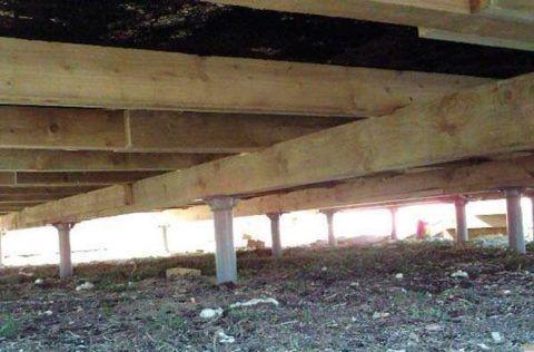 Свайный фундамент под деревянное крыльцо - террасу